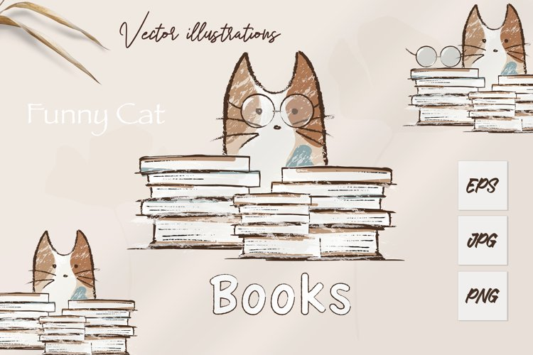 Funny cat and books. Sublimation design. Cat PNG