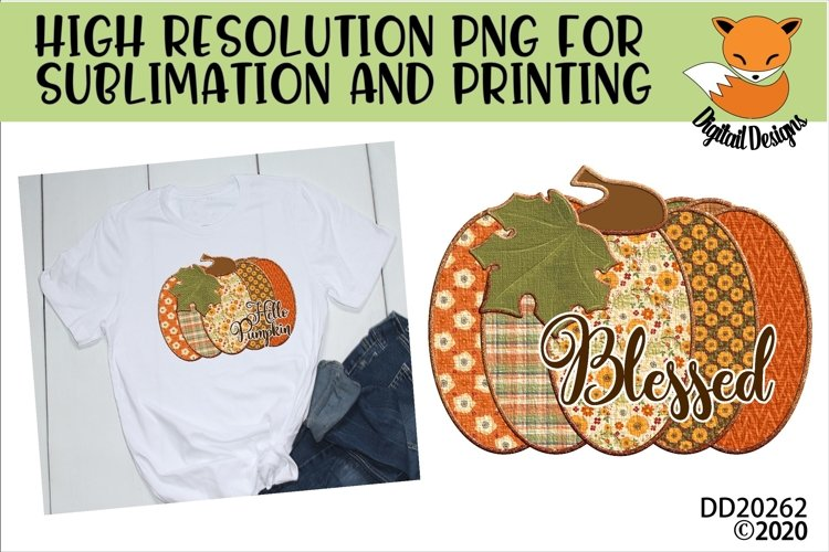 Patchwork Blessed Pumpkin Fall Sublimation Design example image 1