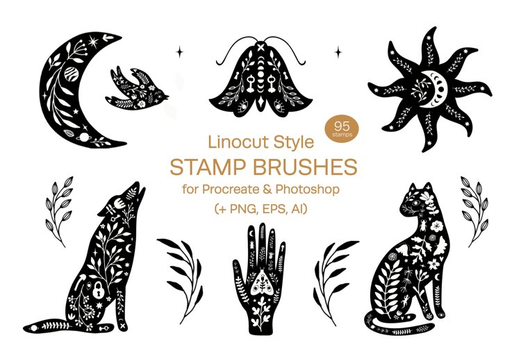 Linocut Style Stamp Brushes for Procreate and Photoshop example image 1