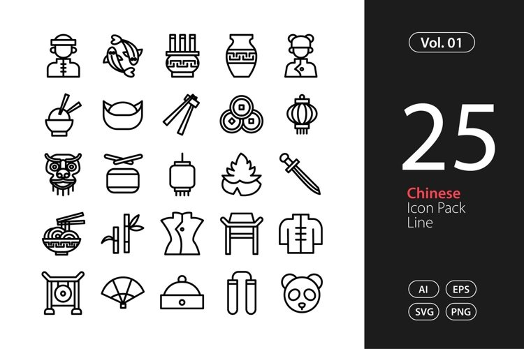 Chinese Icon Line SVG, EPS, PNG