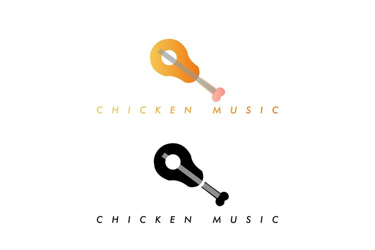abstract logo chicken guitar vector graphic design example image 1