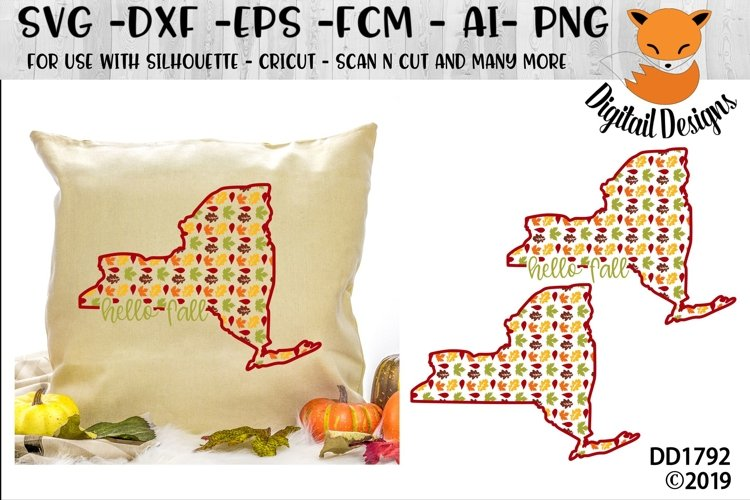 New York Autumn Fall Leaves Pattern SVG example image 1