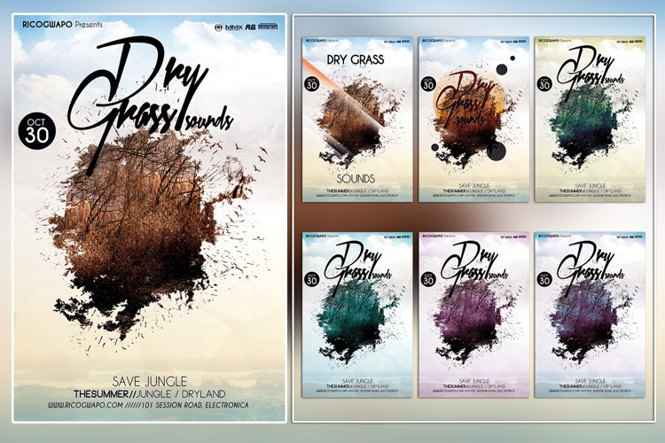 Dirty Grass Photoshop Flyer Template example image 1
