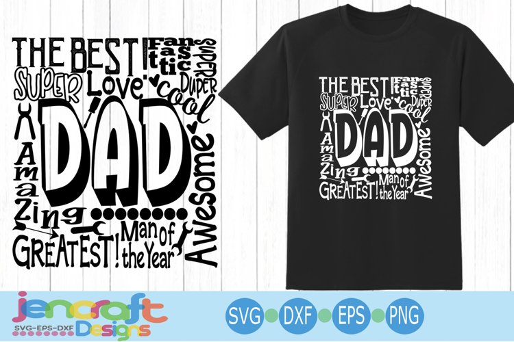 Dad SVG, Fathers Day SVG, typography word art Svg, Eps, Dxf