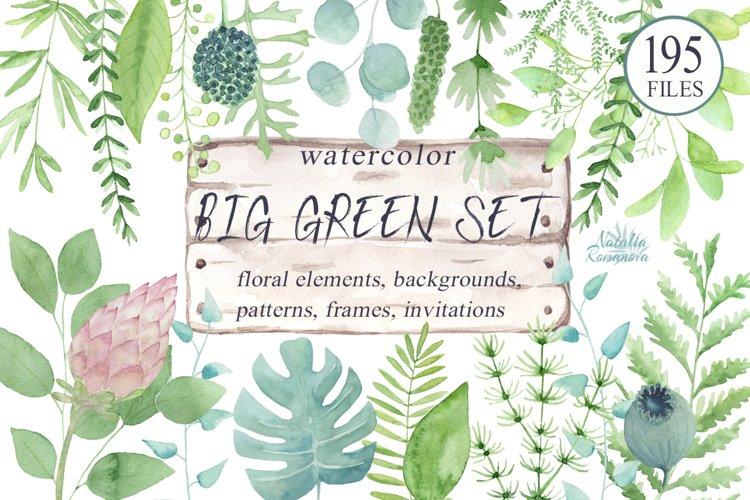 Big green set in watercolor