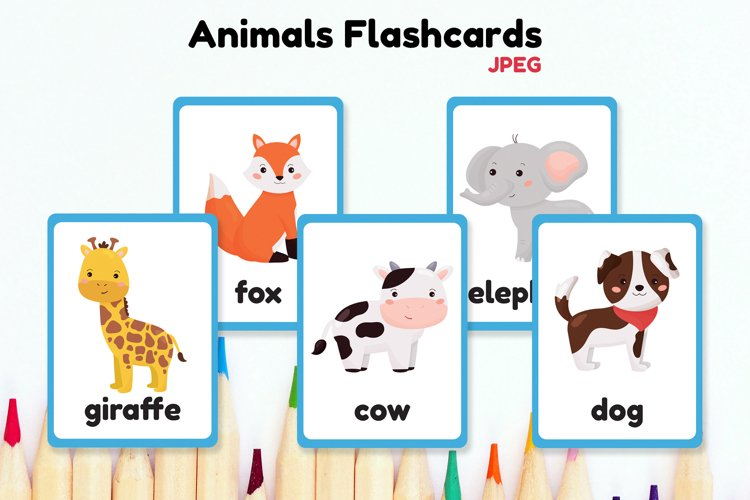 Animals Flashcards for kids. Forest, jungle and farm animals