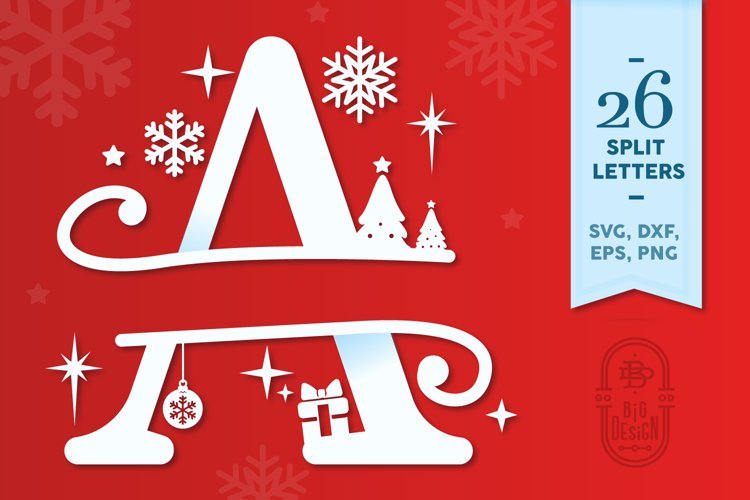 Christmas Monogram Alphabet - Christmas Split Letters