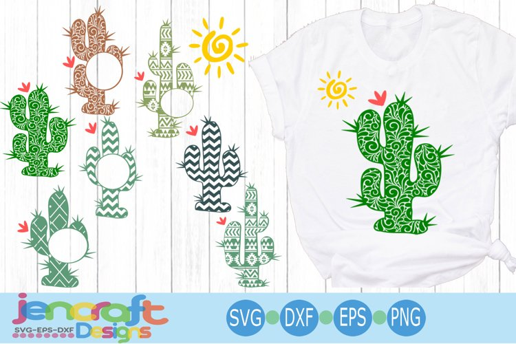 Cactus SVG Desert Summer Monogram Frame SVG, Eps, Dxf, Png