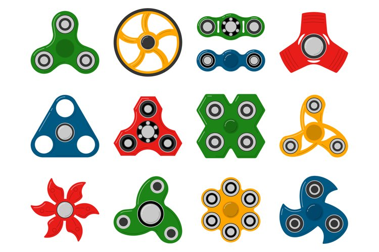 Hand spinner toys for anti stress games. Vector pictures of example image 1
