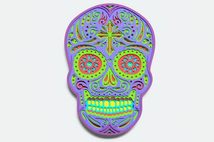 Multilayer Sugar Skull Mandala - S5, for cutting machines