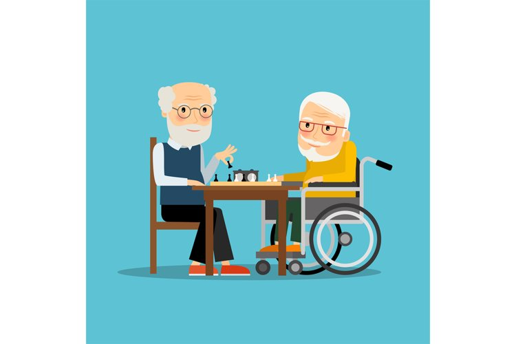 Game of chess. Two old men playing chess example image 1