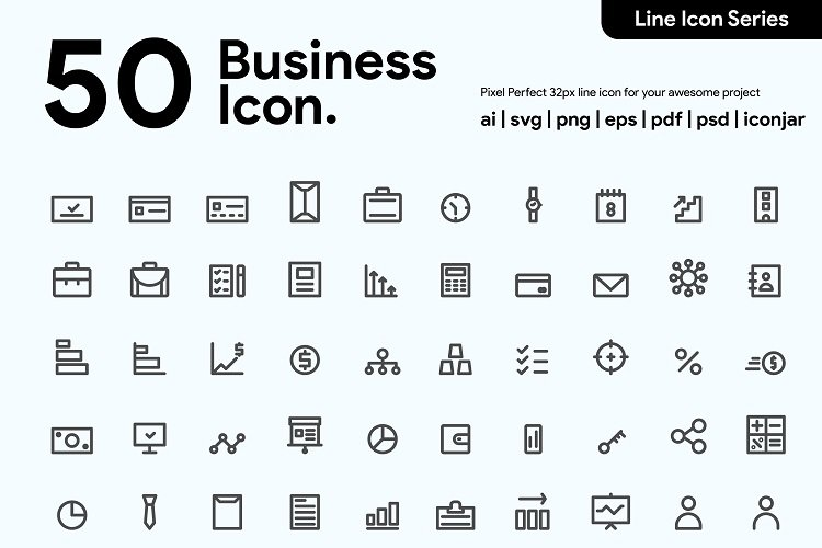 50 Business Line Icon example image 1