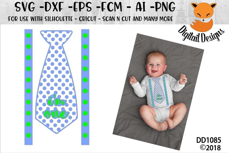 First Birthday Tie SVG - Silhouette - Cricut example image 1