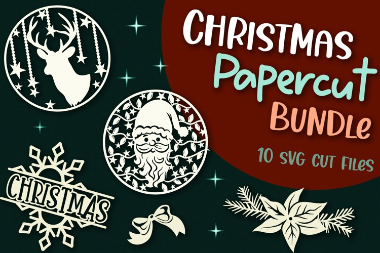 Christmas Papercut Bundle - 10 SVG cut files example image 1