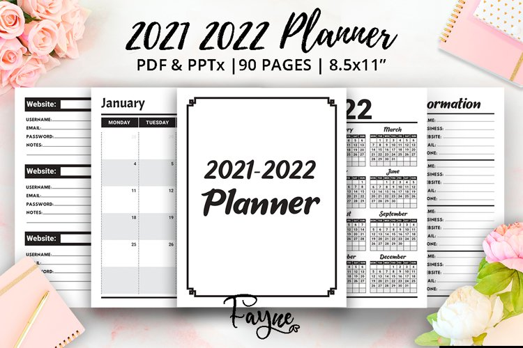 2021 2022 Two Years Planner   calendar   Ready KDP Interior