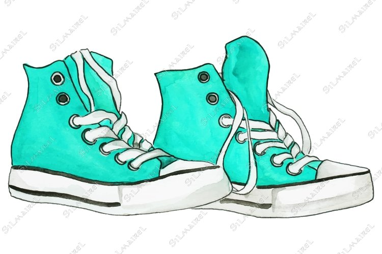 Watercolor mint blue turquoise sneakers pair shoes isolated example image 1