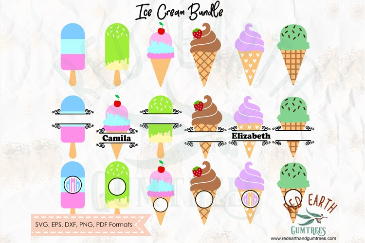 Ice cream split monogram frame, ice cream circle frame SVG