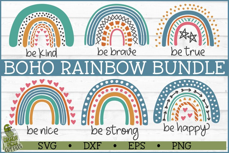 Boho Rainbow Inspirational SVG Bundle