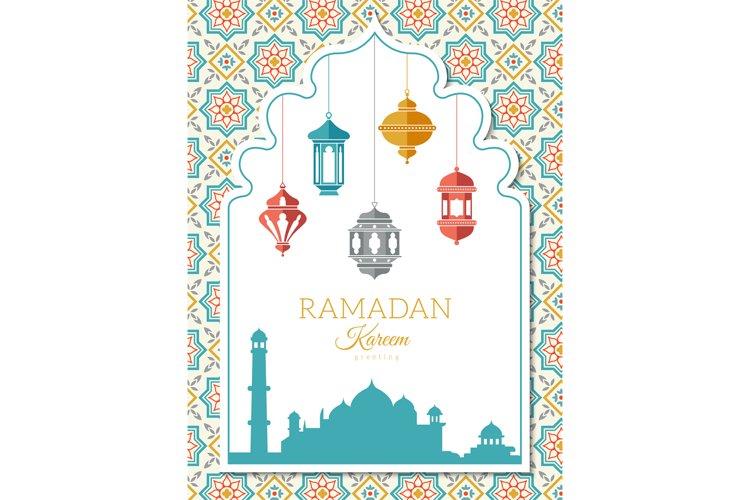 Arabic lamp background. Ramadan decoration banner with musli