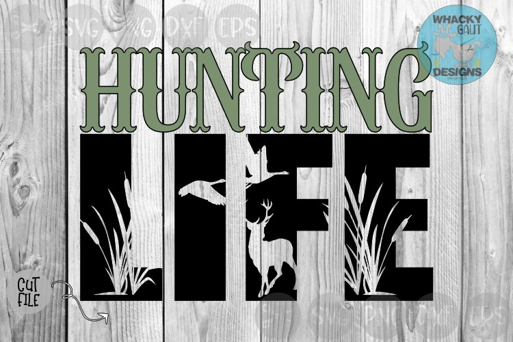 Hunting Life, Deer, Cat Tails, Wild Life, Cut File, SVG. example image 1
