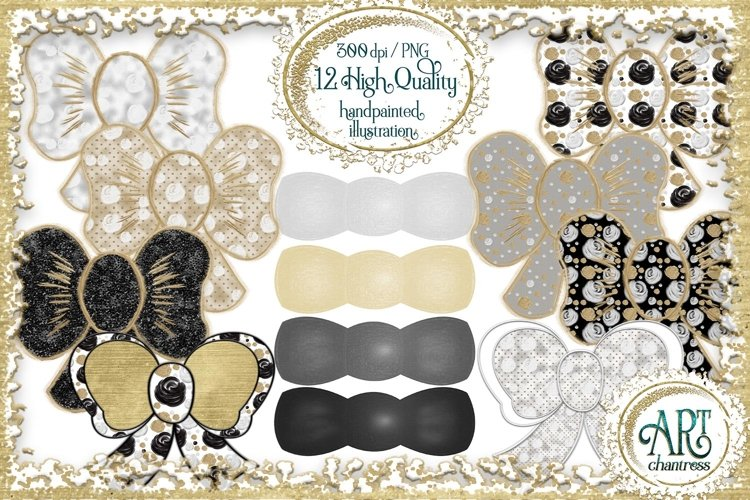 Bows clipart,Stationery,glitter bows,Ribbon,digital art
