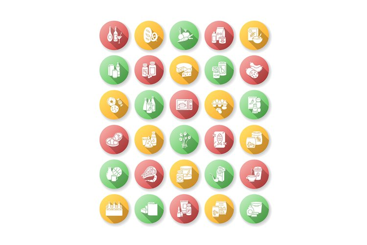 Groceries category flat design long shadow glyph icons set