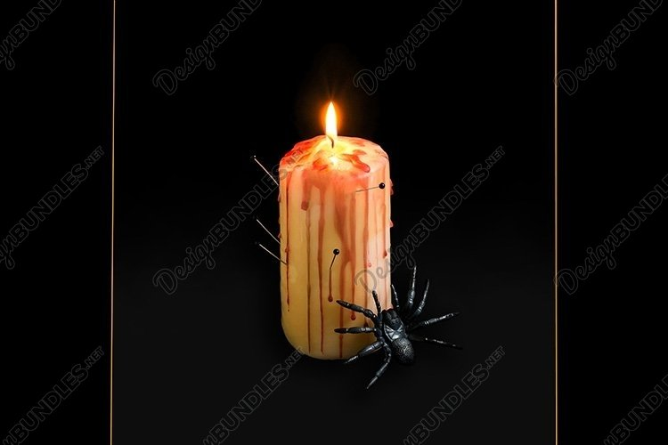 Candle pierced with needles with red drops like blood example image 1