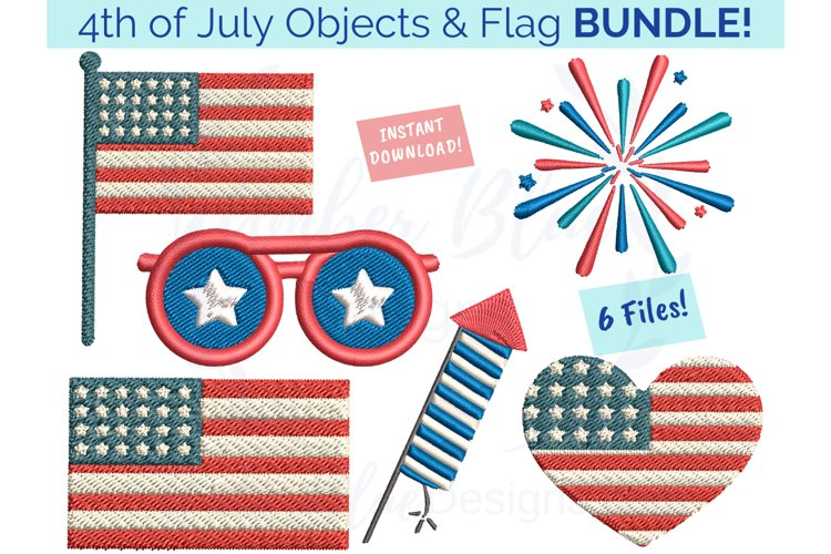 4th of July Objects and Flag Embroidery File Bundle