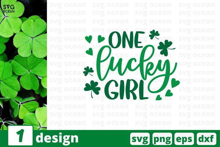 One Lucky Girl SVG Cut File | St Patricks Day Cricut example image 1