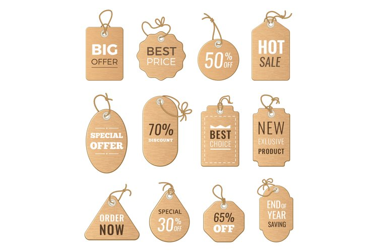 Discounts tags. Drop price and big sales. Vector pictures of example image 1