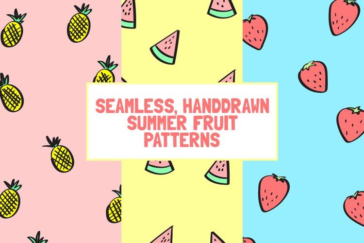 6 Seamless Handdrawn Summer Fruits Pattern Backgrounds