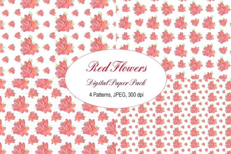 Red Watercolor Flower digital paper