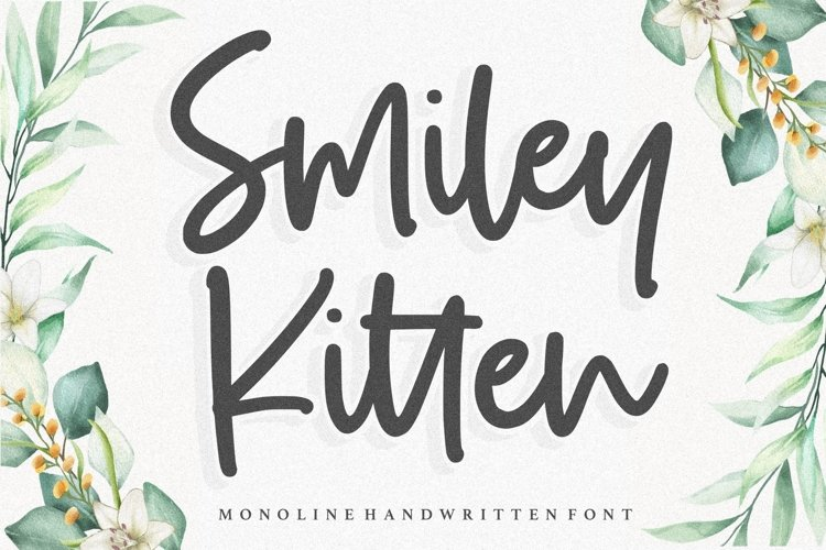 Smiley Kitten Monoline Handwritten Font example image 1