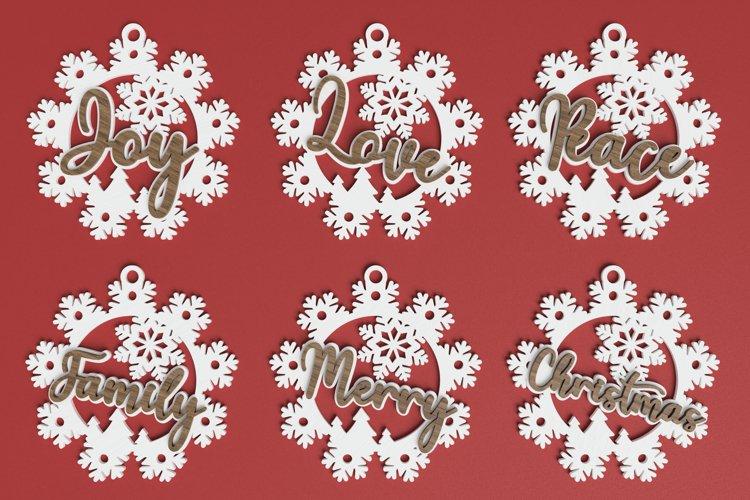 Christmas ornament laser cut file Bundle - Snowflake words example image 1