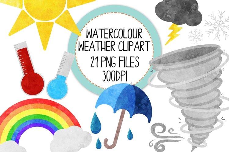 Watercolor Weather Clip Art Set