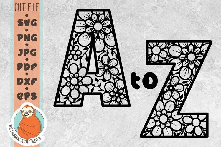 Flower Filled Letter, Alphabet Bundle SVG - Floral Alphabet