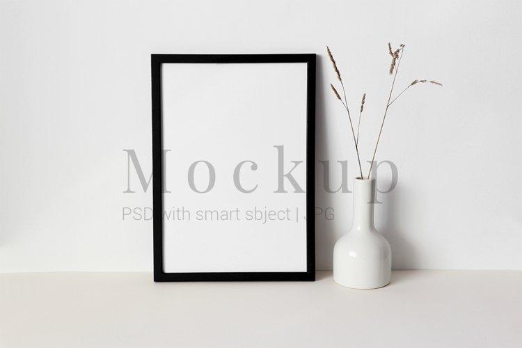 Black Photo Frame Mockup White Vase
