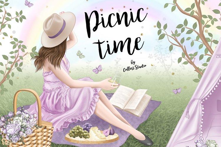 Picnic clipart, spring illustration, nature, flowers, planne