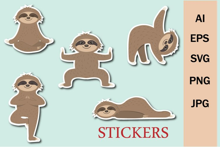 Cute Sloths play sports, clip art and stickers