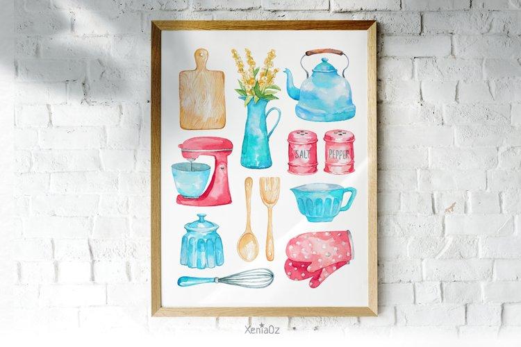 Watercolor Kitchen Utensils Print, Kitchen Wall Art example image 1