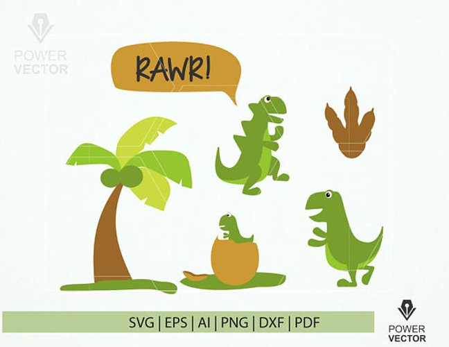Funny Dinosaur Svg. Dinosaur Print and Cut File. Dinosaur Family Clip Art example image 1