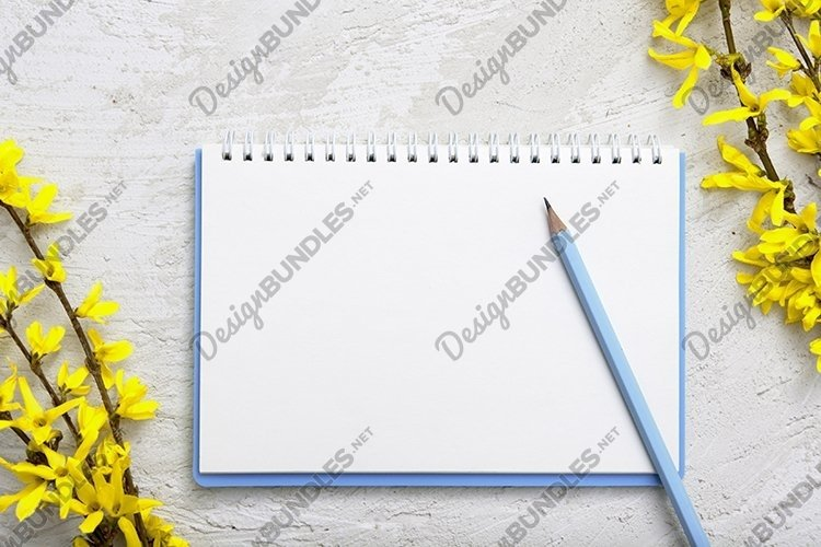 Spring blank sheet with pen and flowers template, mock up example image 1