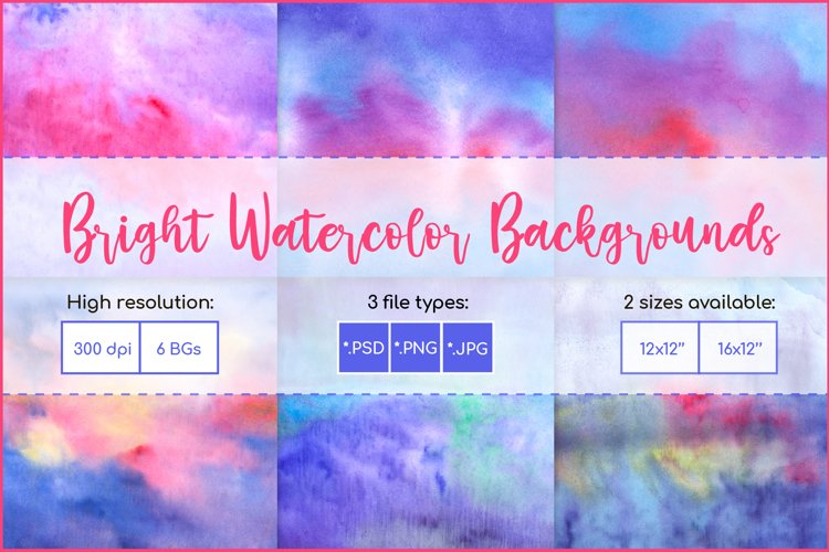 Watercolor Backgrounds, Sublimation Watercolor Texture PNG example image 1