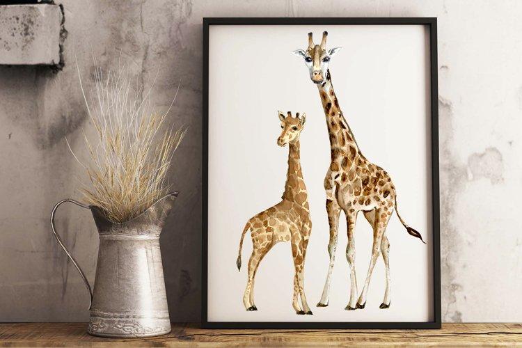 Watercolor Giraffes Clip Art