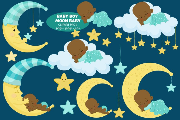 Nursery baby Clipart - African American baby boy clipart
