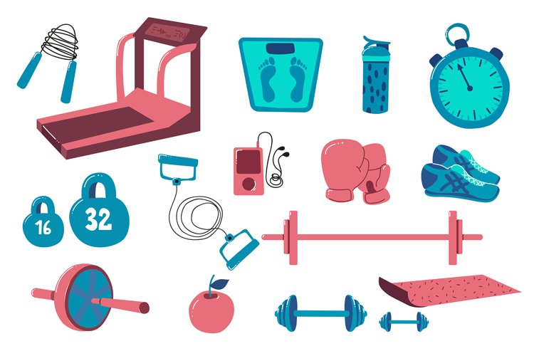 Cartoon Gym Icons, vector set