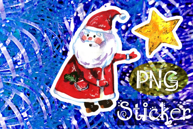 Santa Claus and star stickers, cute character, PNG example image 1