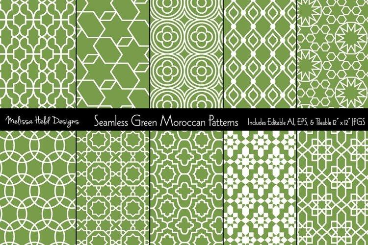 Seamless Green Moroccan Patterns