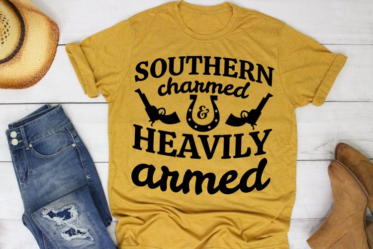 Southern Charmed And Heavily Armed SVG Southern Farm Girl example image 1