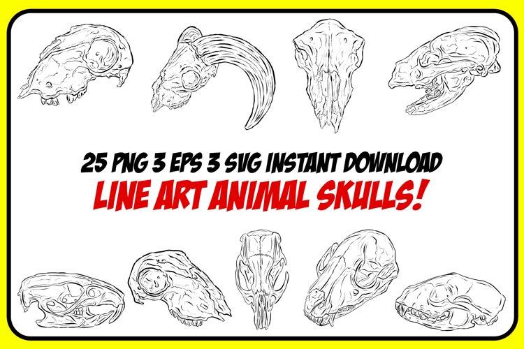 Line Art Animal Ram Fox Sheep Skulls Horns For Halloween example image 1